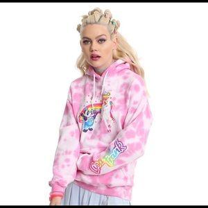 Lisa frank pink tie dye 90s panda unicorn hoodie M